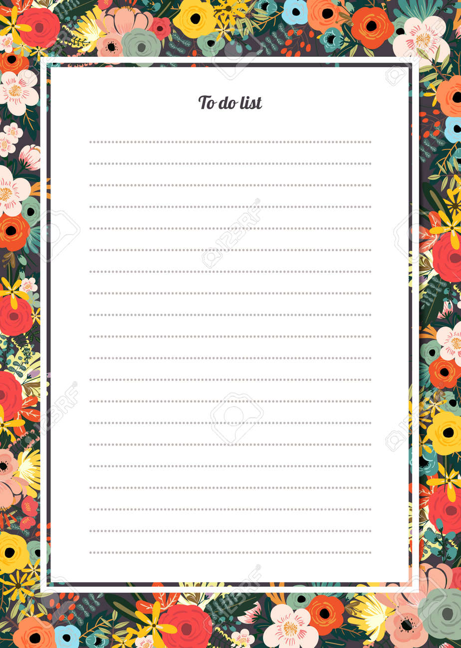flowers poster template to do list royalty free cliparts vectors