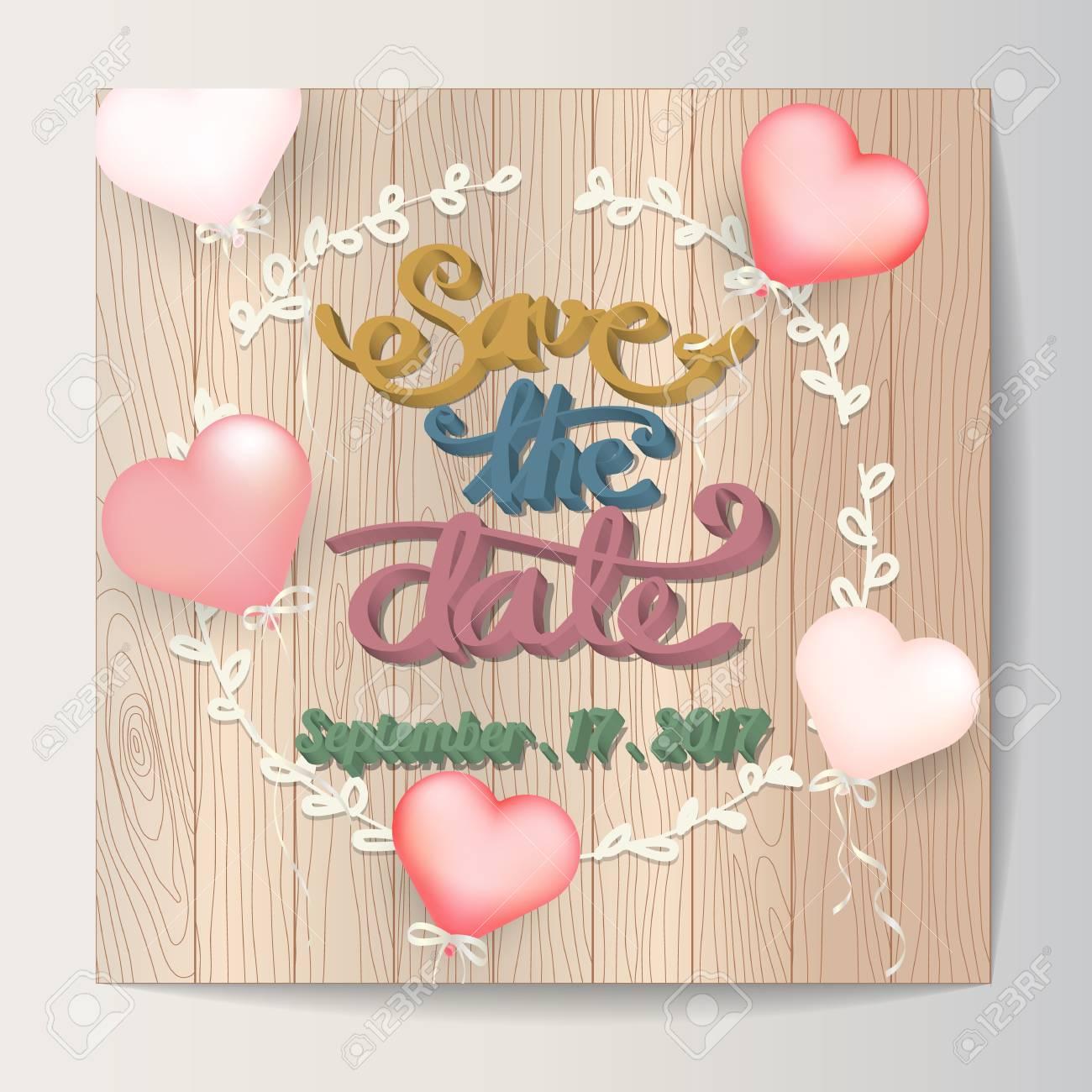 Wedding invitation card typography and doodle with balloon on wood imagens wedding invitation card typography and doodle with balloon on wood background stopboris Choice Image