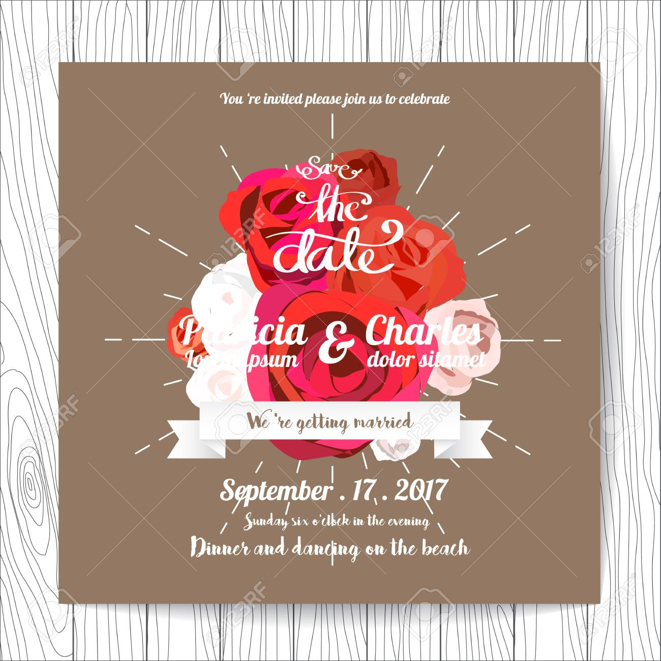 Wedding Invitation Card Templates, Flower Blossom On Brown ...
