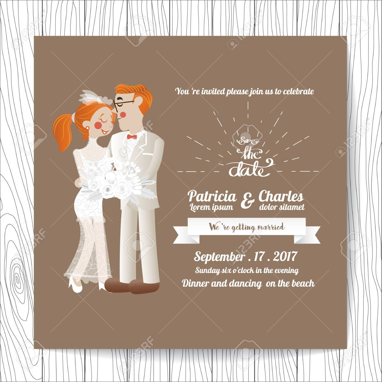 Wedding invitation card templates cartoon character bride holding a imagens wedding invitation card templates cartoon character bride holding a bouquet of flowers blossom on brown background stopboris Gallery