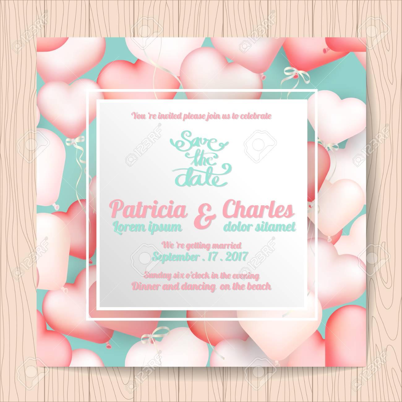 Wedding Invitation Card Templates Sweet Heart Balloon Background