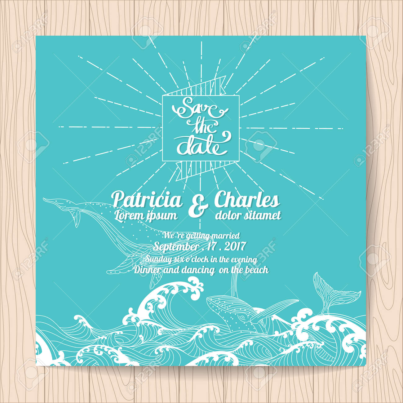 Wedding Invitation Card Templates Ocean Theme Royalty Free Cliparts