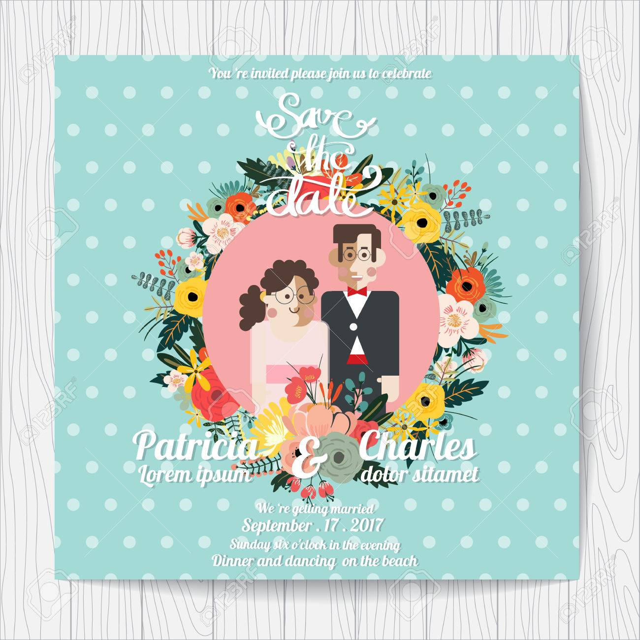 Wedding Invitation Card Templates Cartoon Character Bride And Flowers Blossom On Blue Background