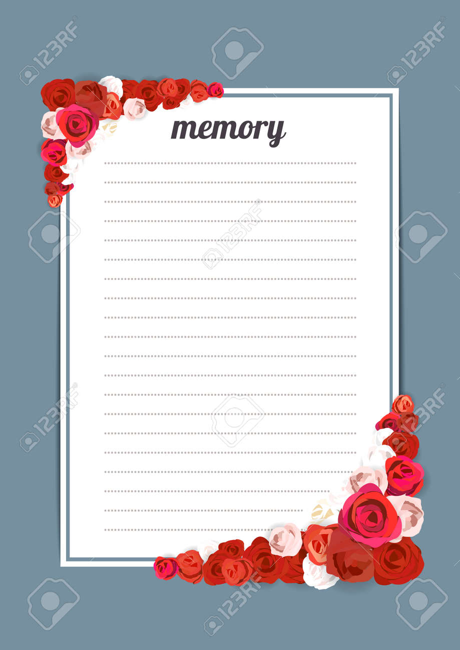 flowers template memory book with blossoms watercolor painting