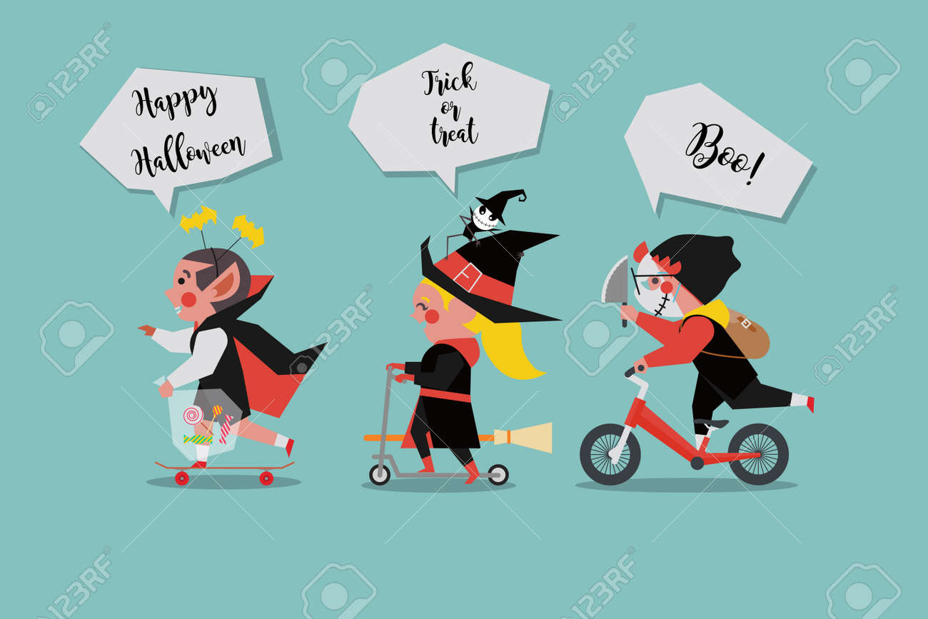 Kids Dress Up As Ghosts In A Halloween Party Vector Illustration ...