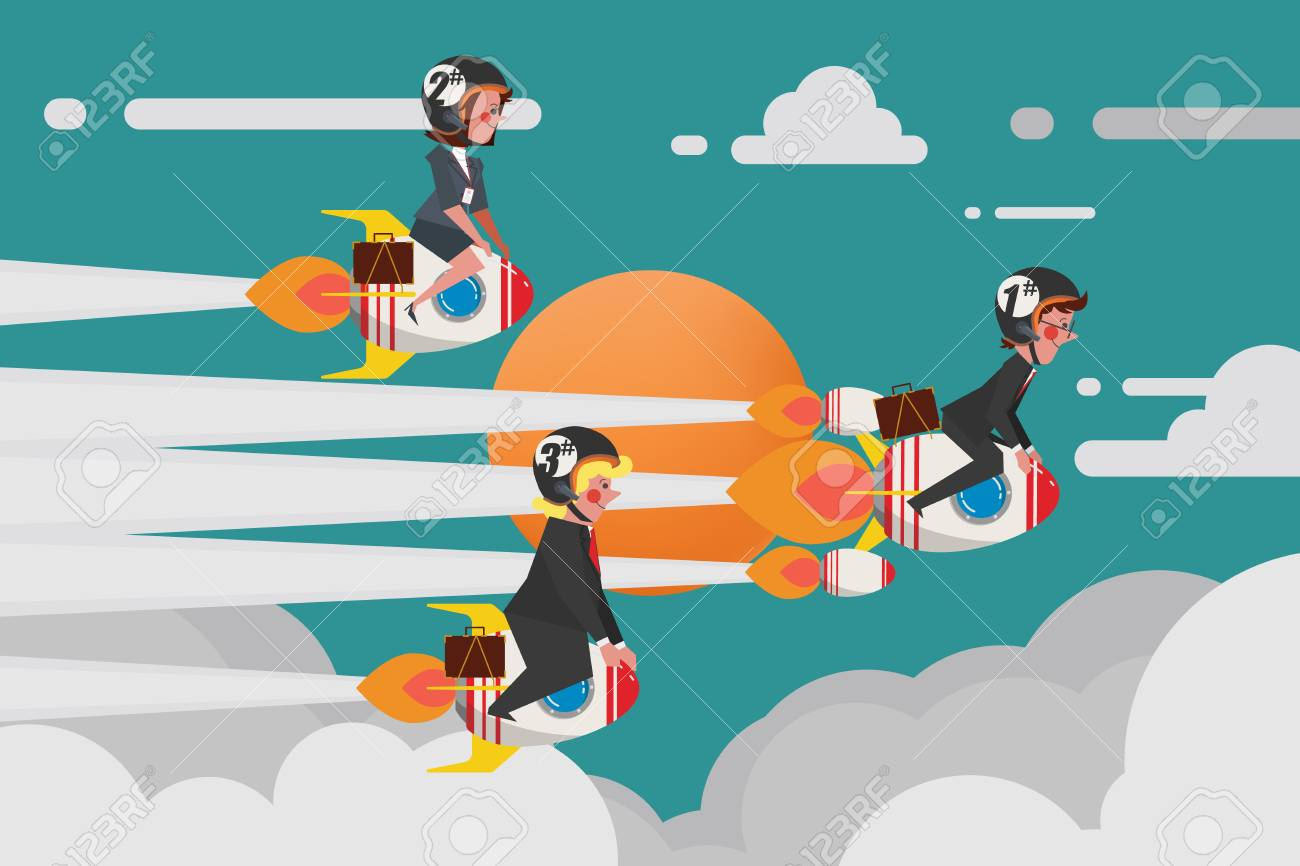 Business Concept, Young Business Group Join a challenging rocket race, Cartoon Character Design flat style - 87205117