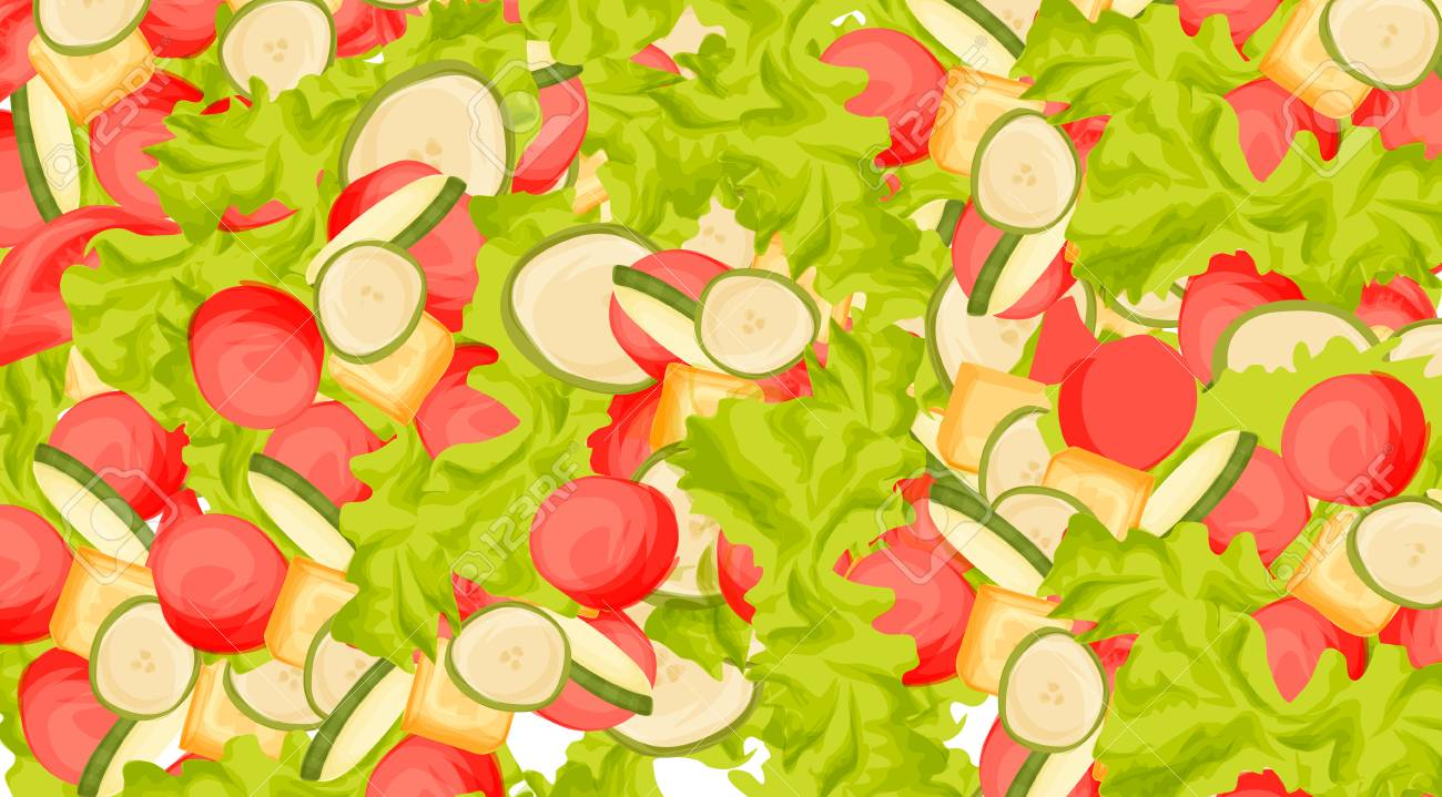 Food illustration of fresh salad with tomatoes and other vegetables , cartoon style Standard-Bild - 92042537