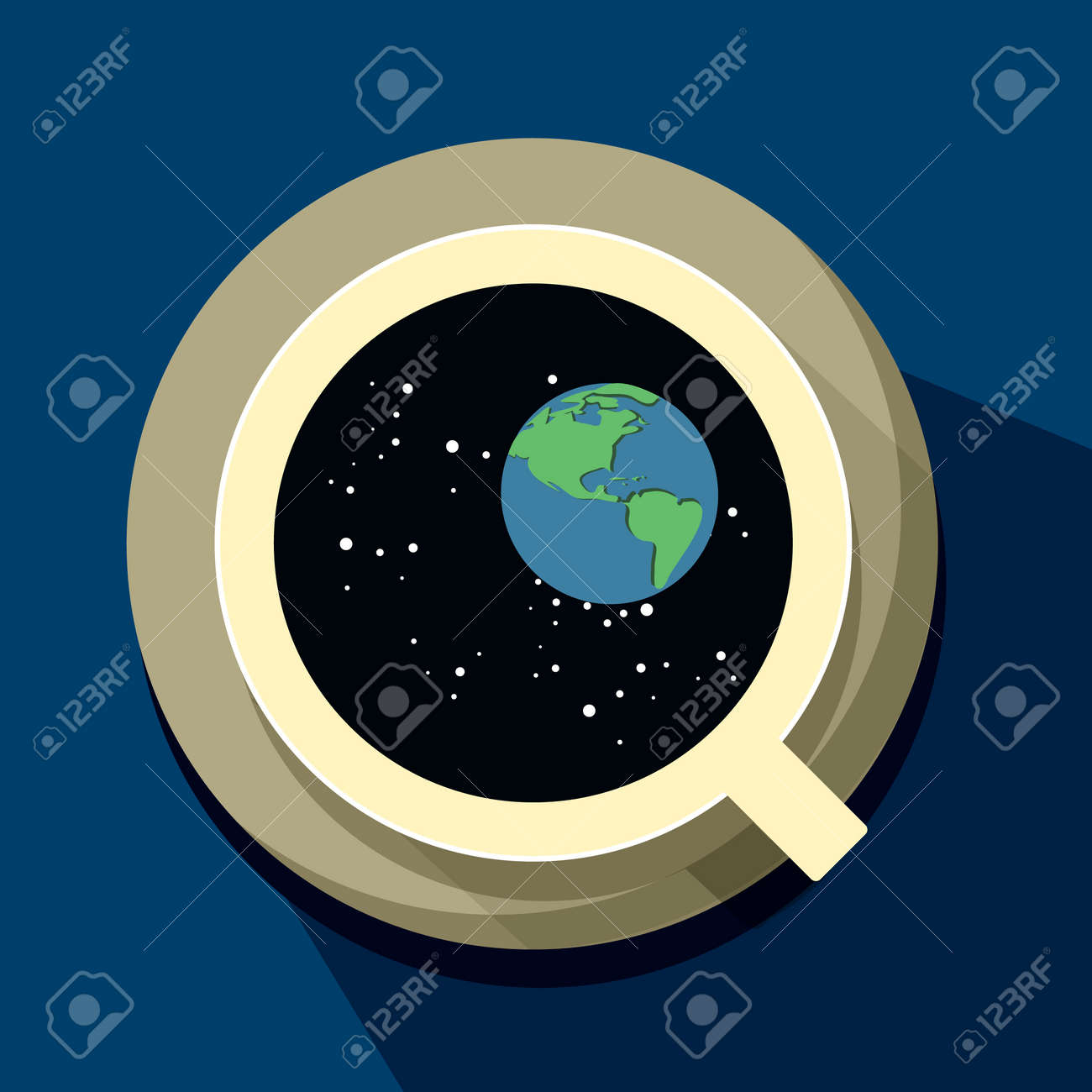 Coffee Cup With Galaxy Inside Vector Illustration Isolated On
