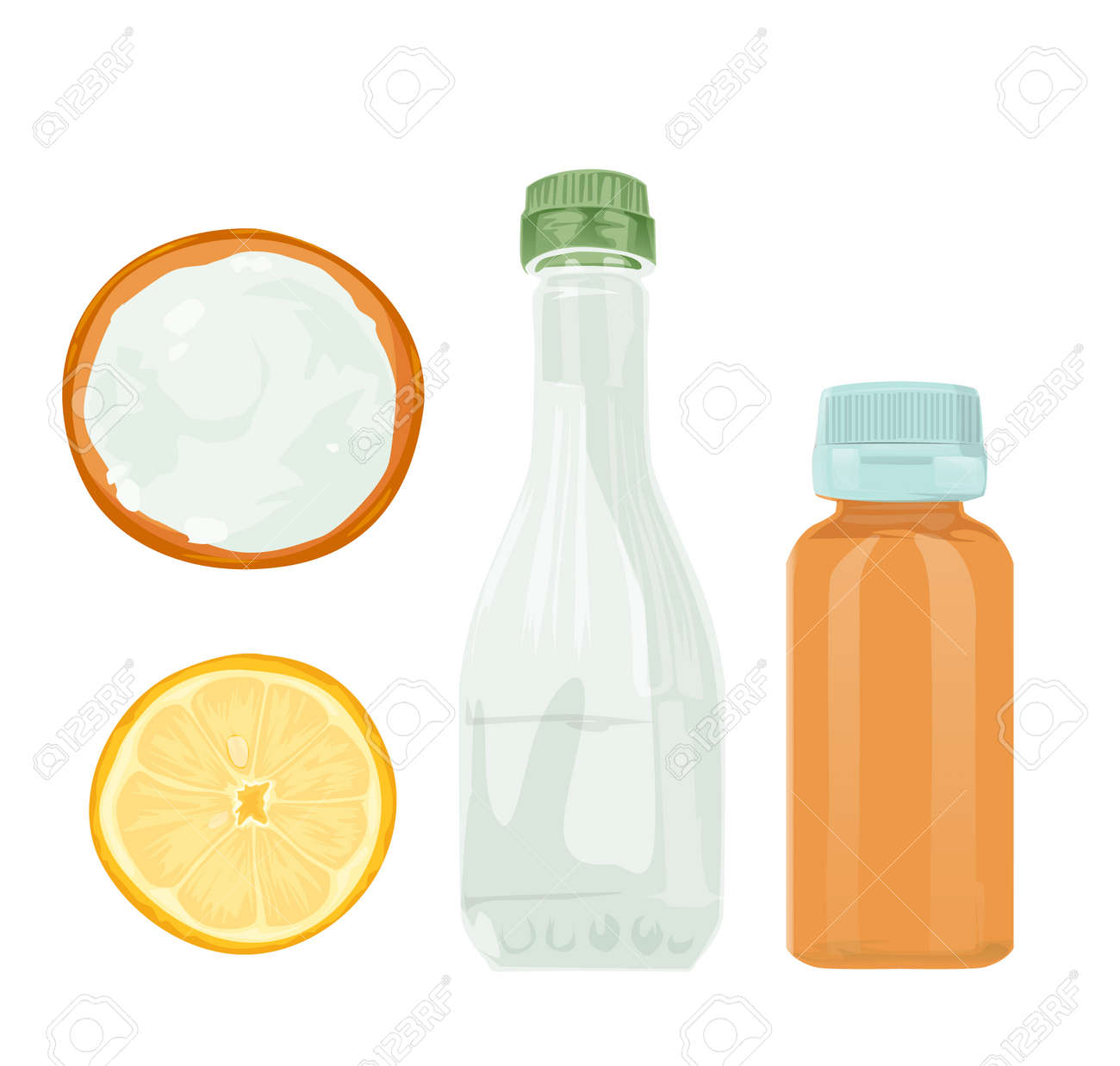 Vector illustration  Natural cleaning products are vinegar, baking