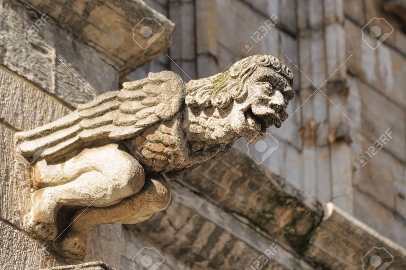 Laughing Gargoyle Figure Decorating Medieval Town Hall In Brussels Belgium Gargoyles Gothic Tradition