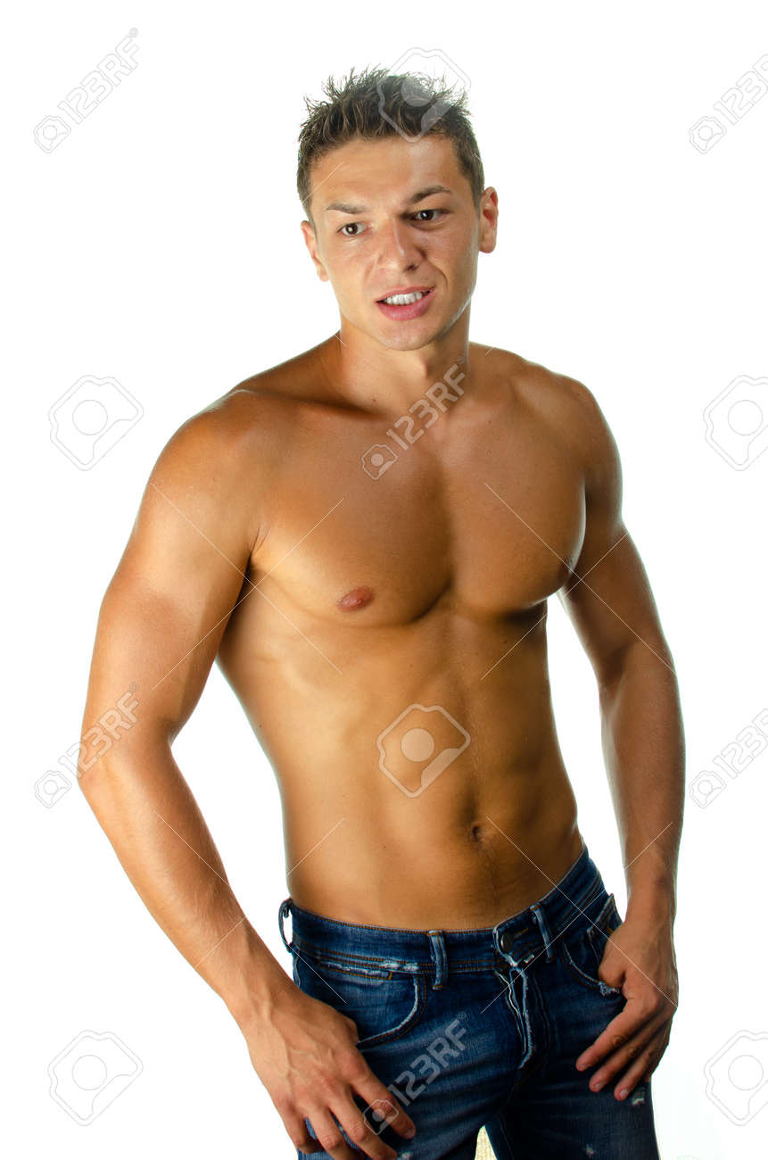 Image of muscular man posing in studio against white background Stock Photo - 16651637