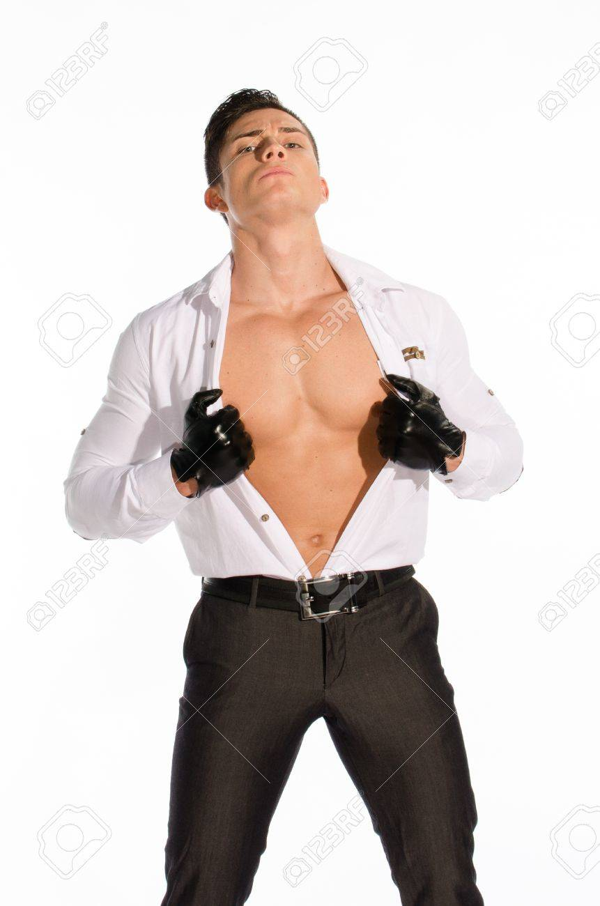 Portrait of young muscular man unbuttoned his shirt against white background Stock Photo - 16649039