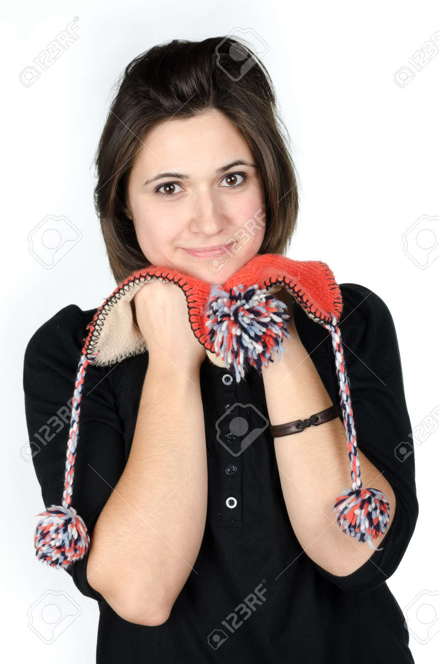 Portrait of beautiful young woman with a funny knitted hat Stock Photo - 17866255