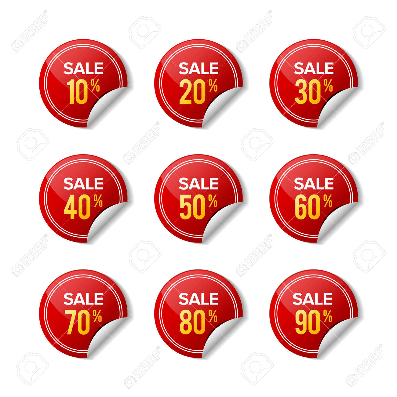 Sale sticker discount red label. Designs for retail, special offer, mega sale, big sale, hot sale, promotion, etc. Graphic designs - 136681838