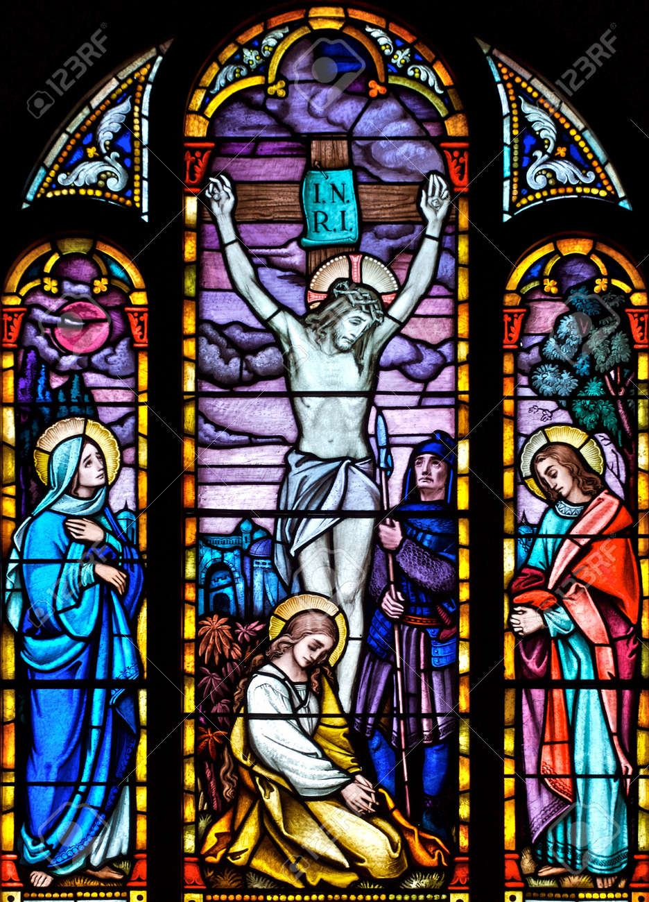 Stained Glass Church Window Depicting The Crucifixion Of Christ Stock Photo