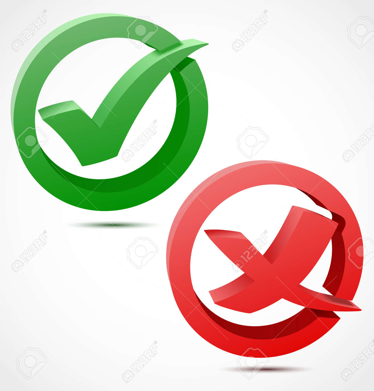 3d Green And Red Check Mark Symbols