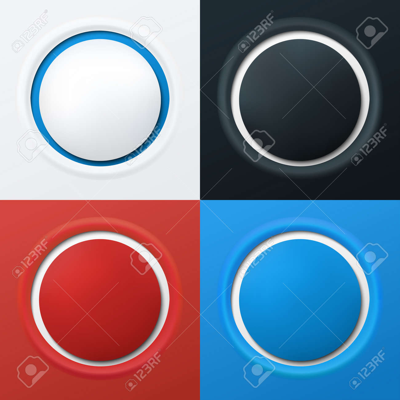 Set of 3d buttons in different colors  Vector illustration Stock Vector - 14239495