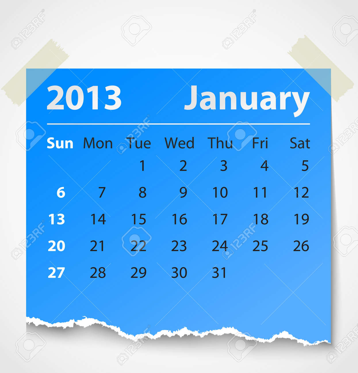 2013 calendar january colorful torn paper  Vector illustration Stock Vector - 14930772