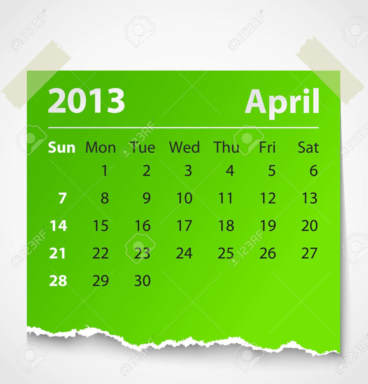 2013 calendar april colorful torn paper  Vector illustration Stock Vector - 14930768