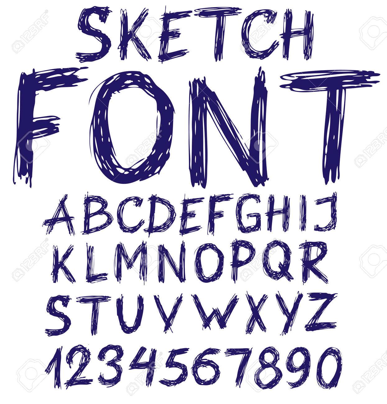 fonts halloween handwritten blue sketch alphabet vector illustration - Halloween Writing Font