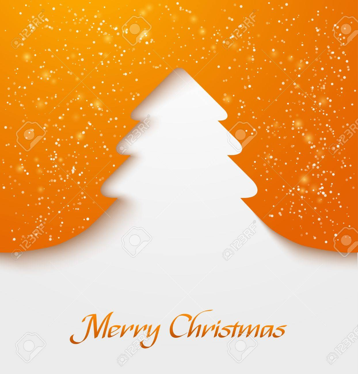 Orange abstract christmas tree applique with snow particles illustration - 17036933