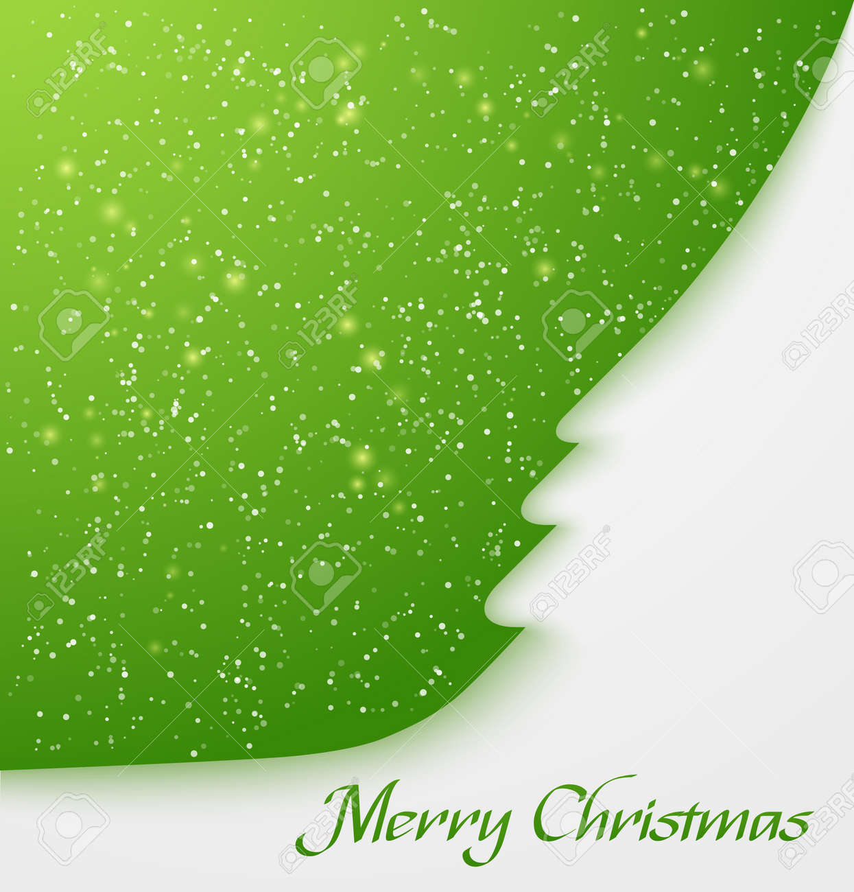 Green abstract christmas tree applique with snow particles  illustration Stock Vector - 17036930