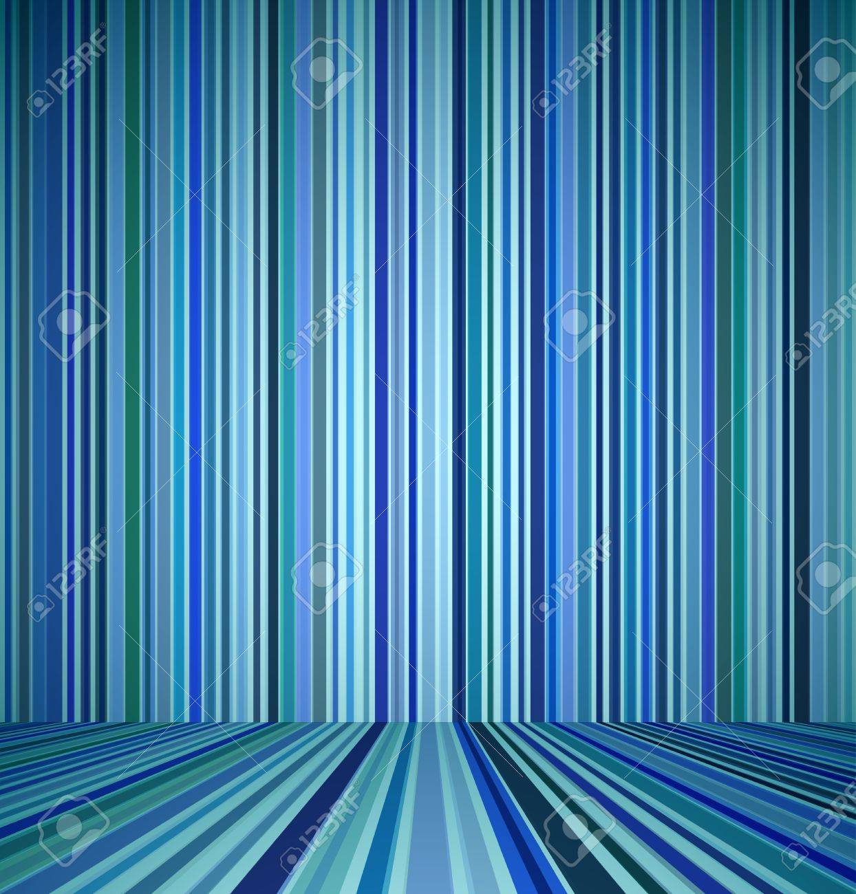 Blue empty room with striped wall and striped floor interior. Vector illustration Stock Vector - 18386879
