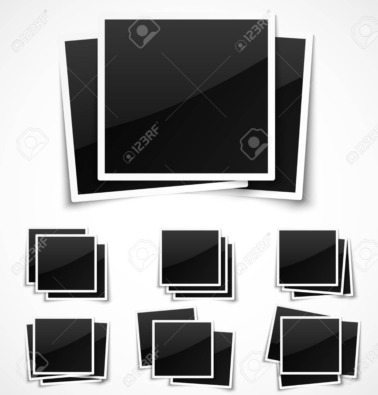 Square empty photo frames on white background. Stock Vector - 18585498
