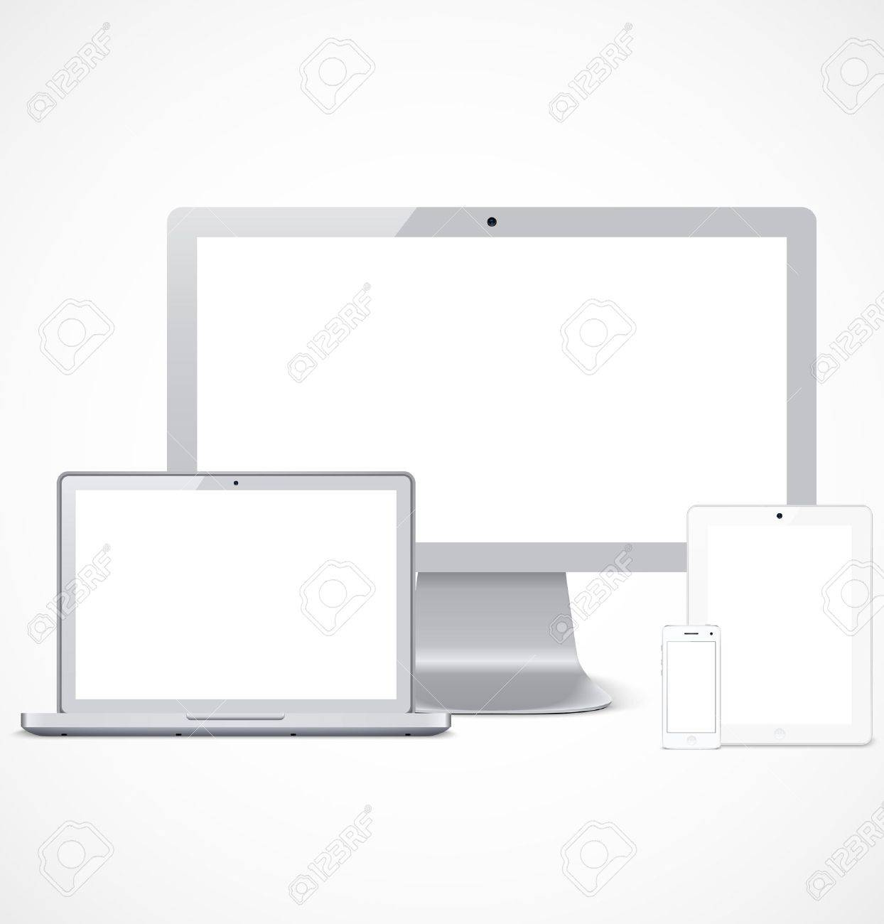 Set of white realistic display, laptop, tablet computer and mobile phone template Stock Vector - 19720190