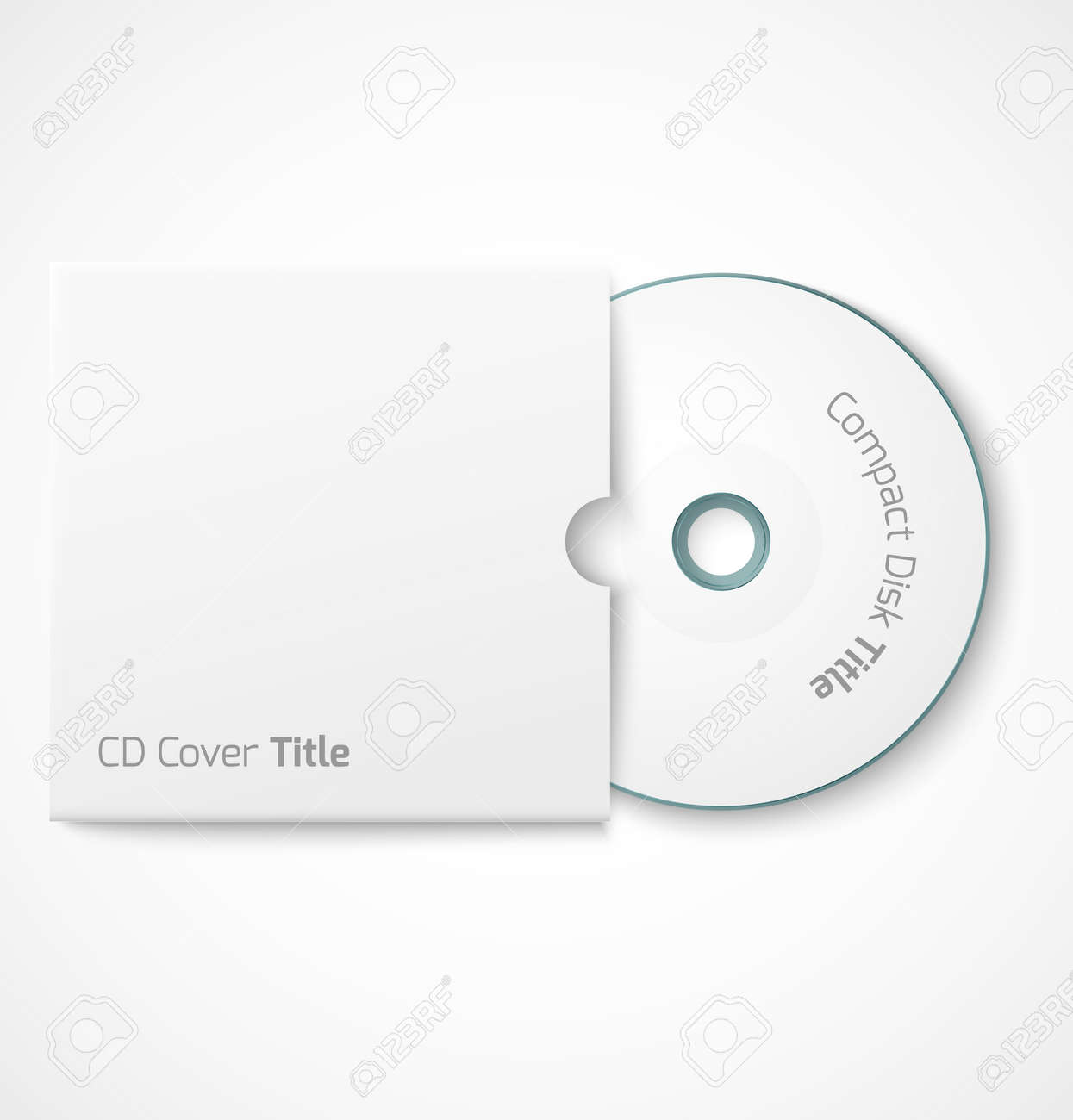 Blank White Compact Disk With Cover Mock Up Template Vector – Compact Cd Envelope Template