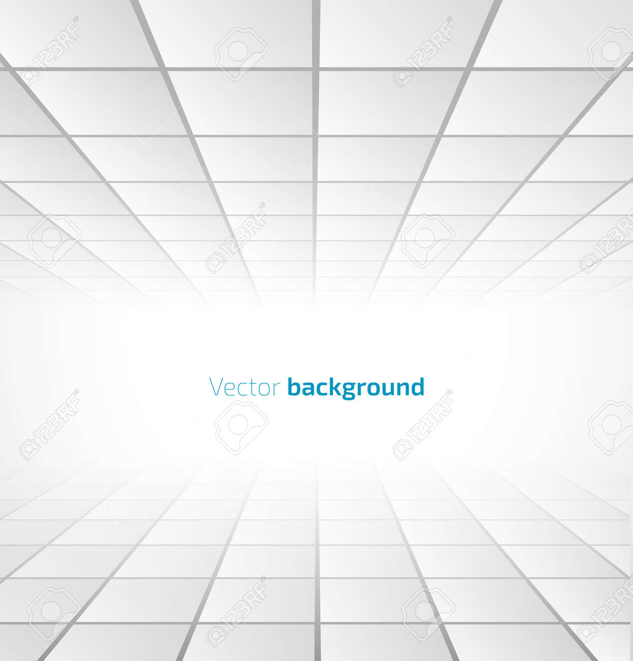 Abstract white tiled background with a perspective. Vector illustration - 34006651