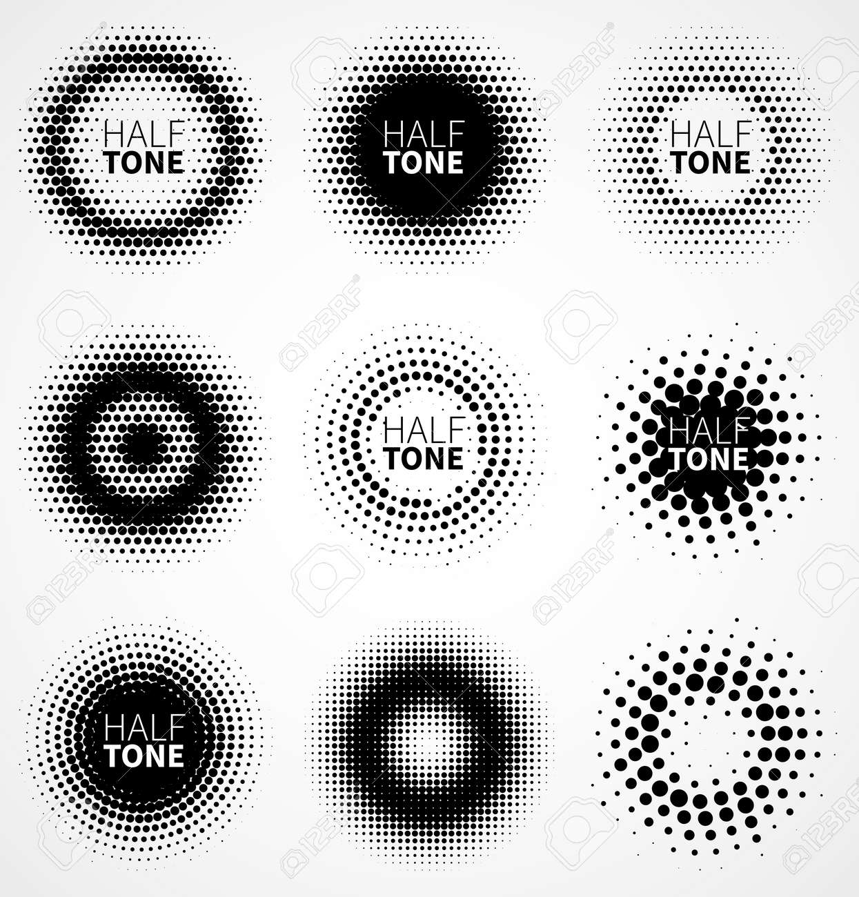 Set of abstract halftone design elements. Vector illustration - 34007667
