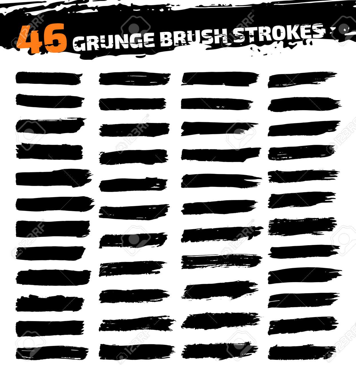 Set of black different grunge brush strokes. Vector illustration - 39262731