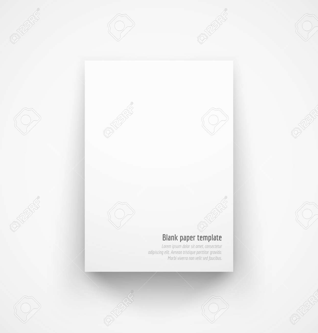 White Paper Template Mockup With Drop Shadow Vector Illustration – Free White Paper Template