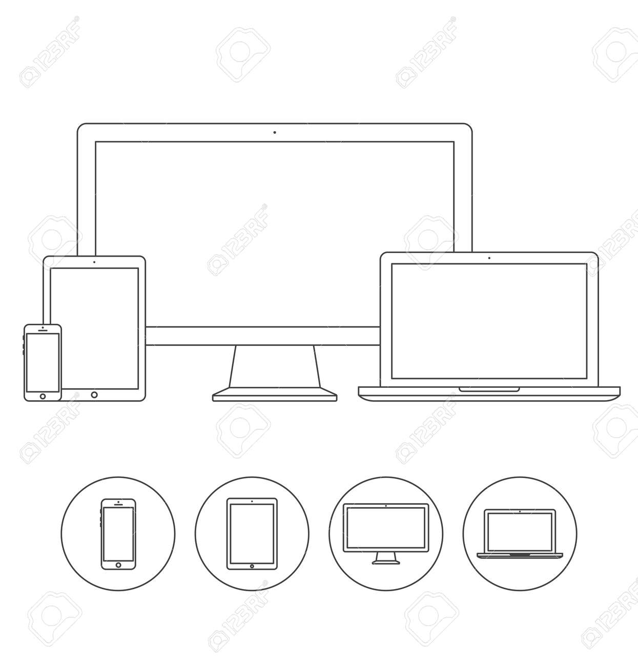 Set of display, laptop, tablet and mobile phones electronic device outline icons template. Vector illustration - 42063011