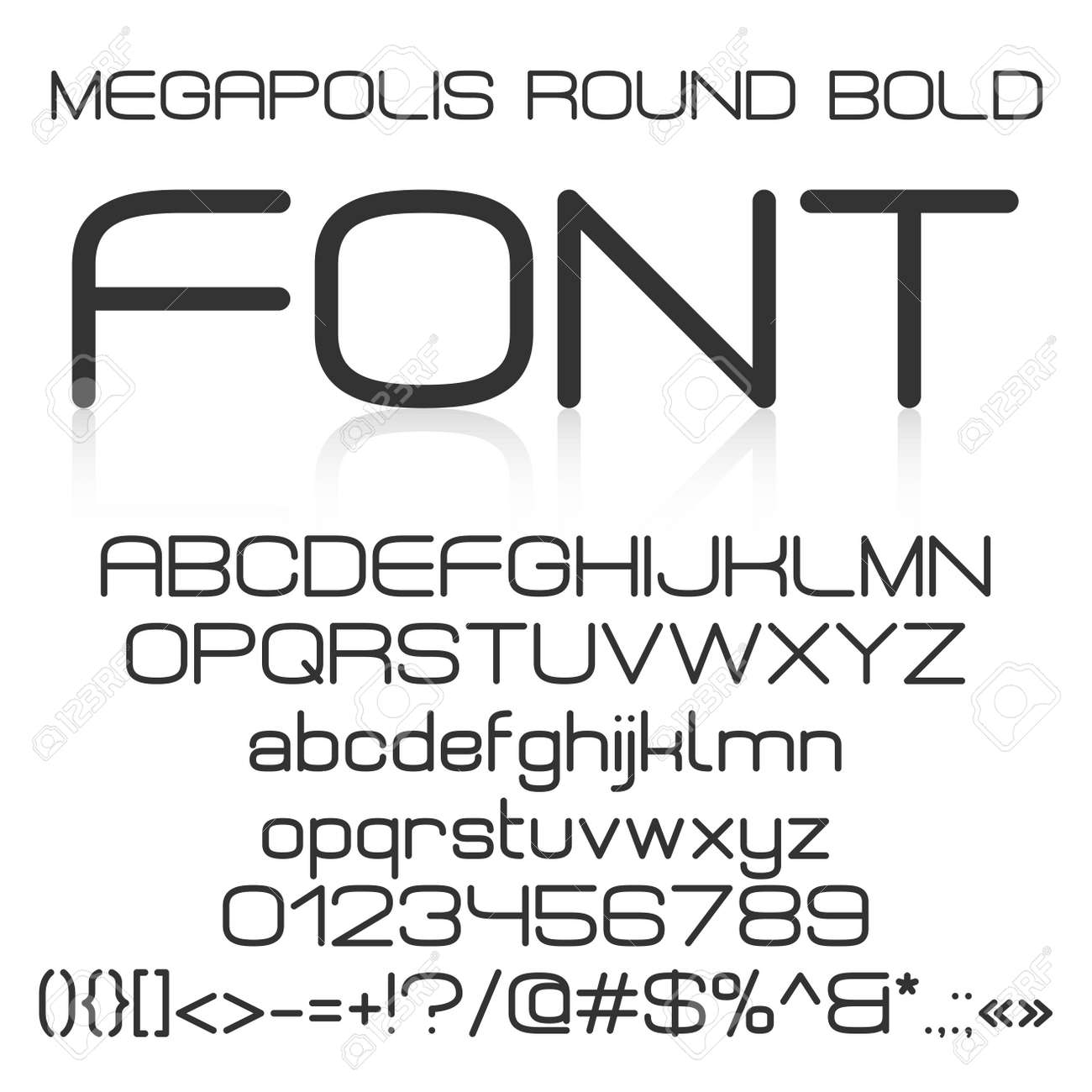 Trendy modern elegant bold font alphabet with upper case and lower case letters numbers and