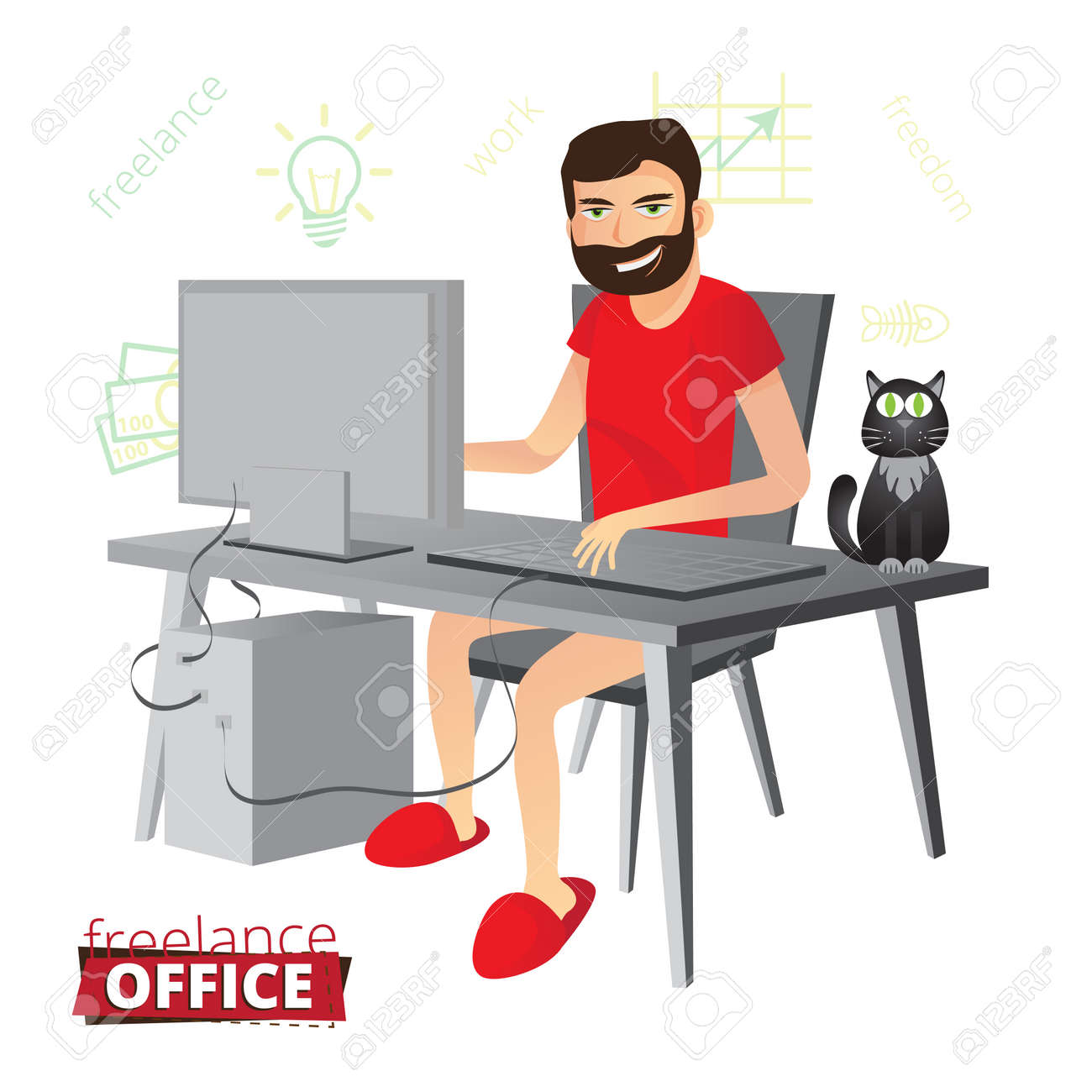 Funny Bearded Freelancer Working At Home On The Computer With ...