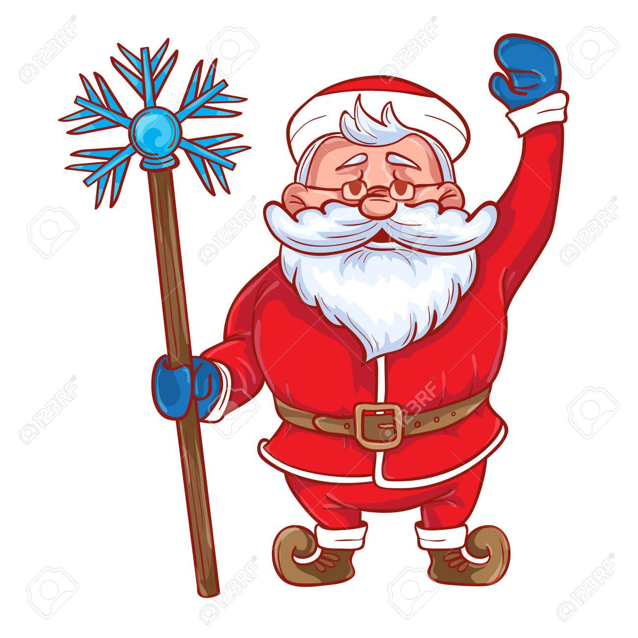 Desenhos Animados Engracados Papai Noel Com Uma Vara Magica Em Sua
