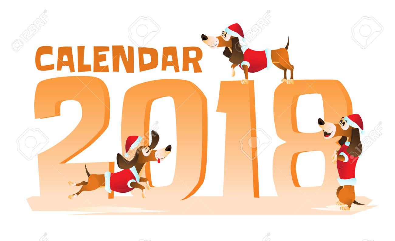 dessin animé pere noel 2018 Teckel Brun De Dessin Animé Dans Le Chapeau Du Père Noël Et Veste  dessin animé pere noel 2018
