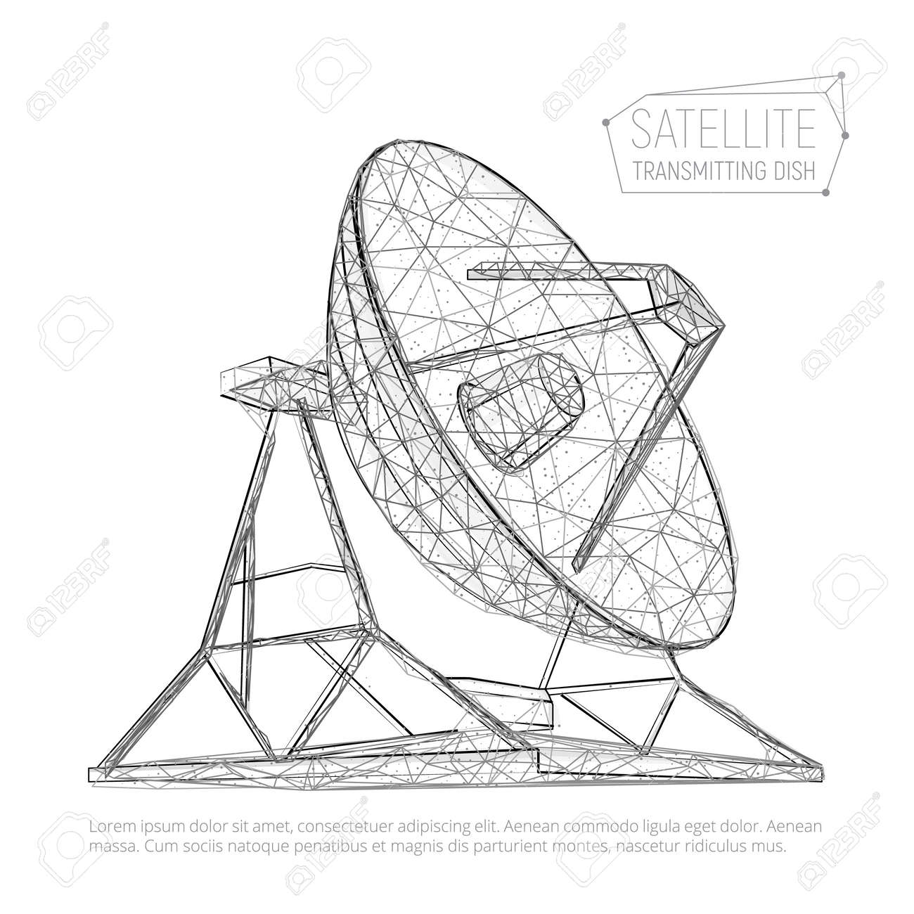 black abstract polygonal satellite dish for space exploration Satellite Dish Configuration black abstract polygonal satellite dish for space exploration vector illustration of radio antenna consisting of