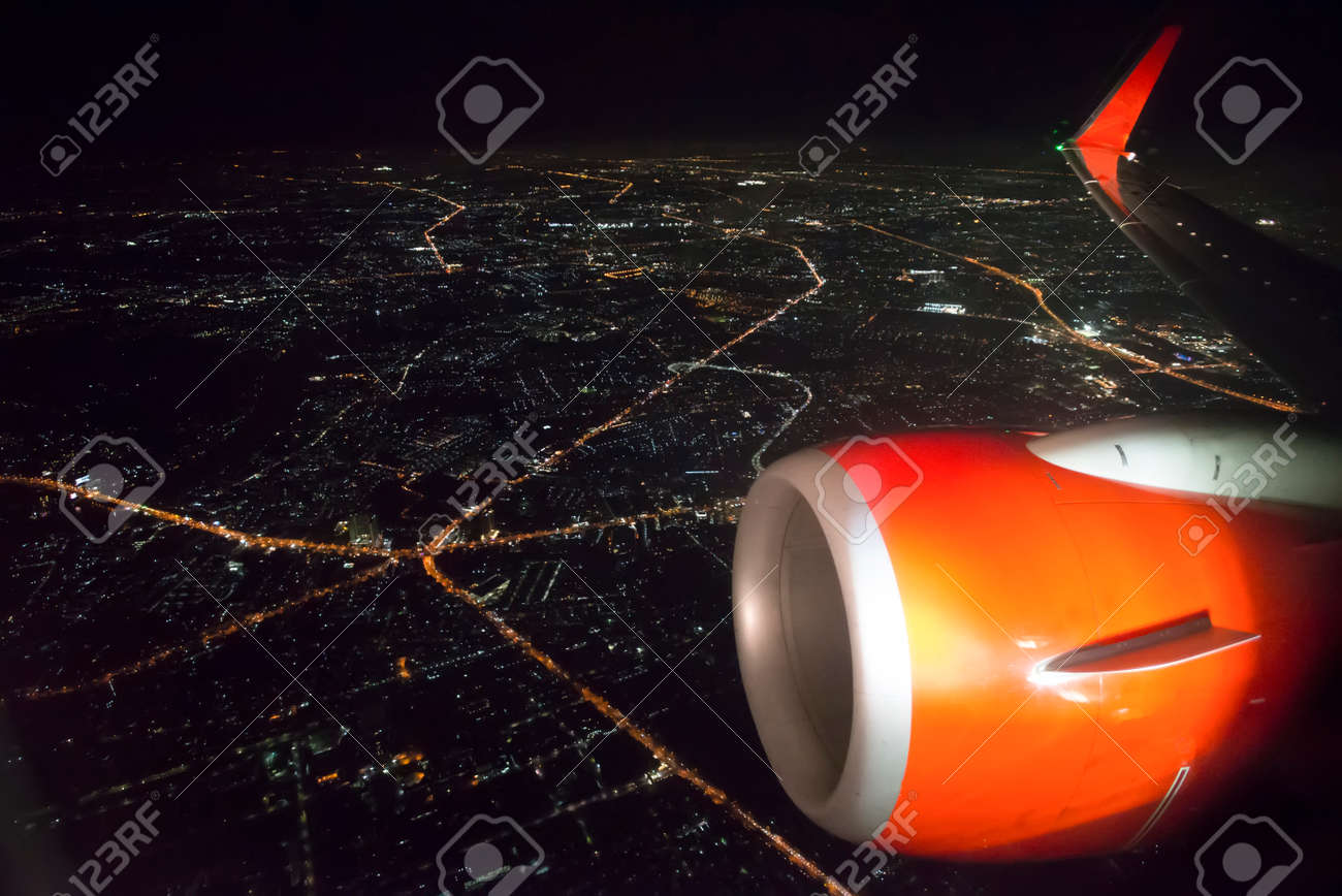 airplane window at night