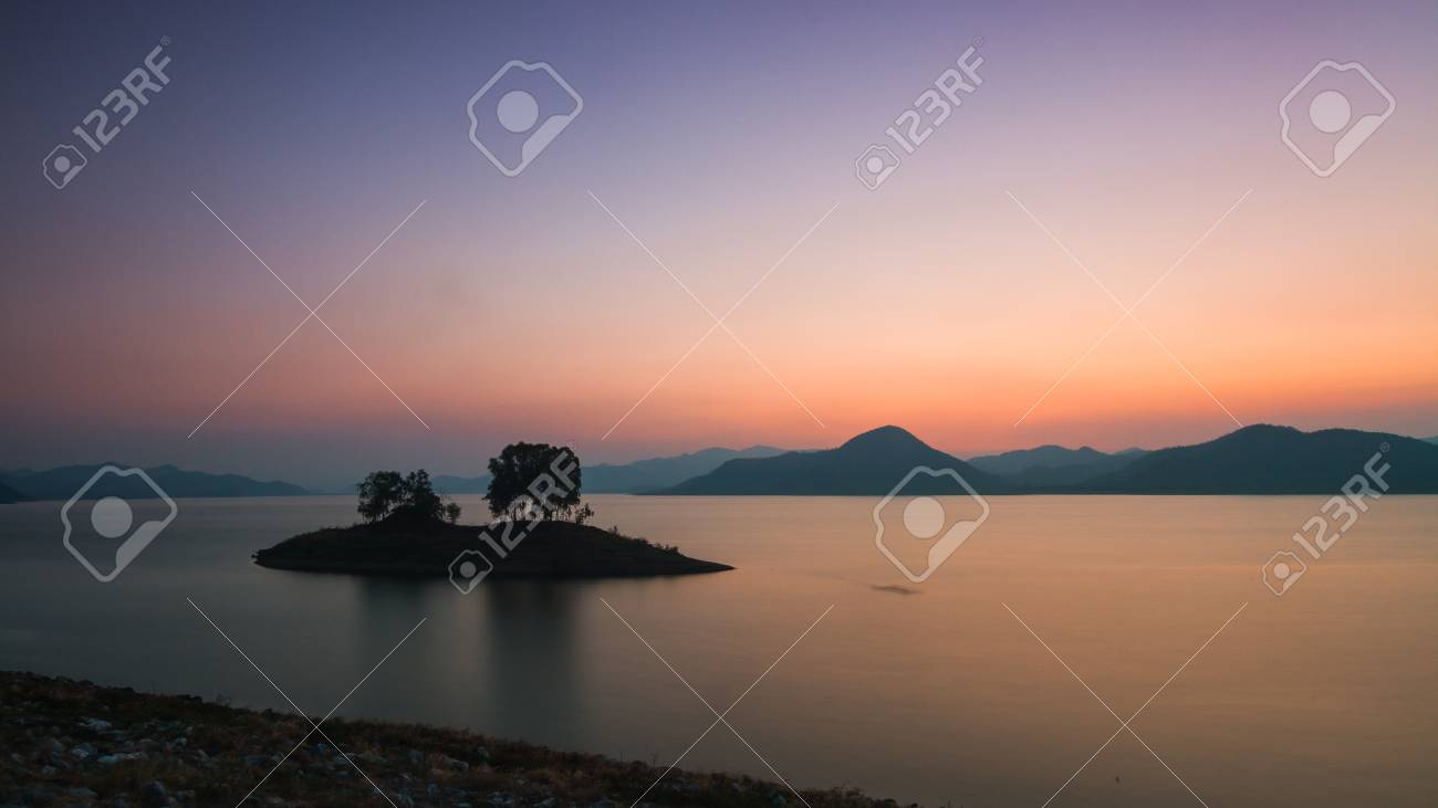 Colorful twilight dam and mountain background Stock Photo - 19019623