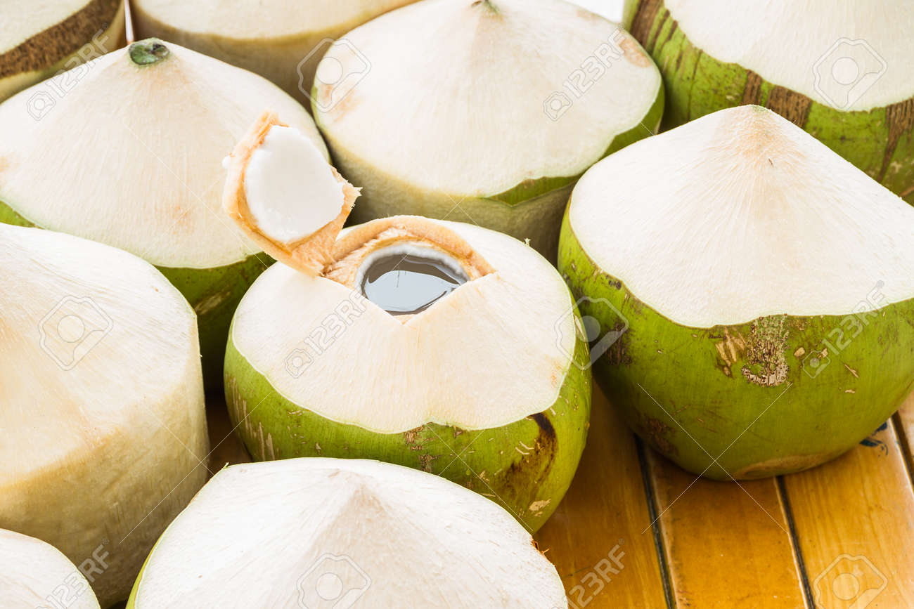 Fresh Coconut Water Drink On Table Stock Photo Picture And Royalty Free Image Image 39001059