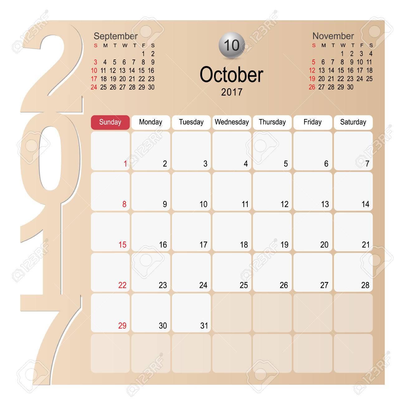 2017 calendar planner design october 2017 year vector calendar