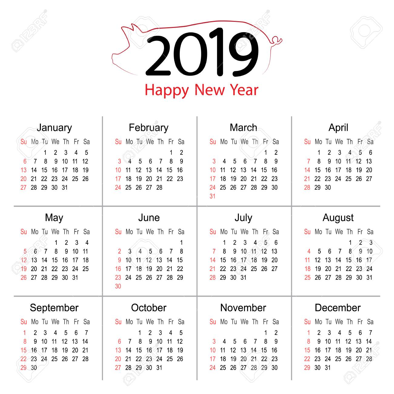 2019 Year Calendar Planner Of Pig Vector Design Template Vector
