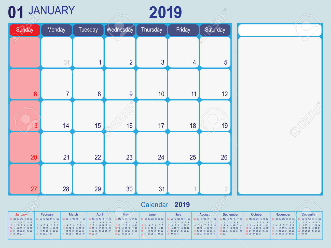 Year 2019 January Planner - A Monthly Planner Calendar For January..  Royalty Free Cliparts, Vectors, And Stock Illustration. Image 111005283.