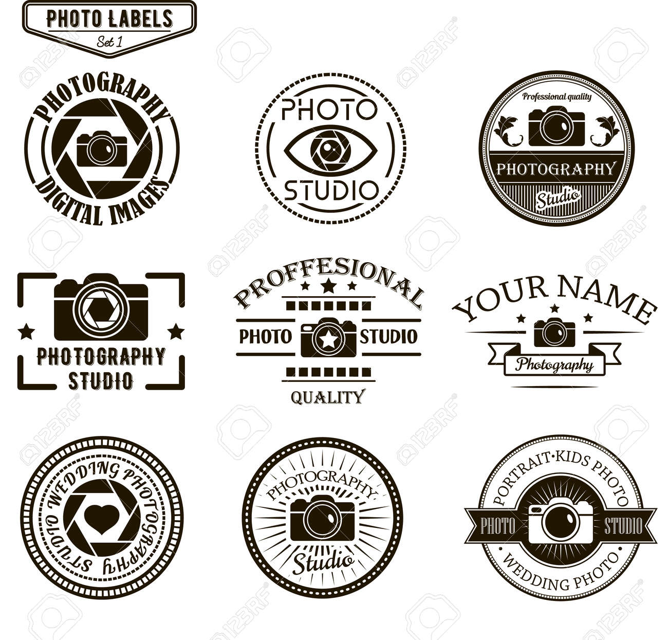 Vector Set Of Photography Logo Templates Photo Studio Logotypes And
