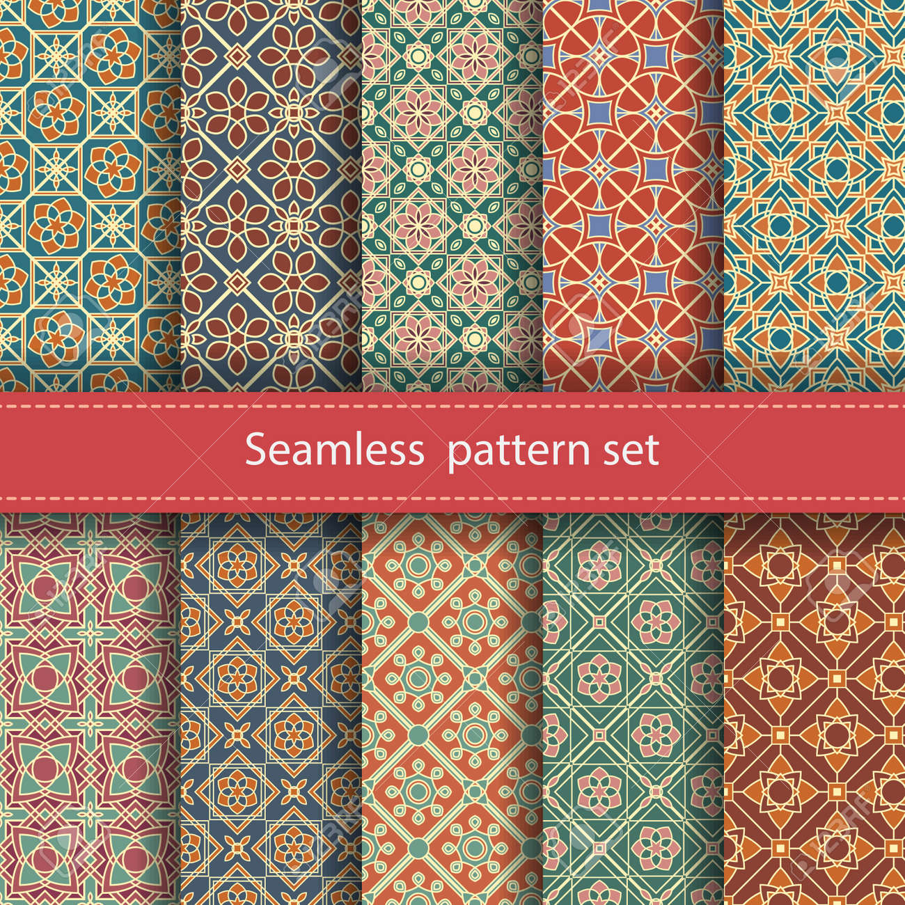 Vector set of 10 seamless mosaic patterns. Arabic tile texture with geometric ornament. Decorative and design elements for textile, book covers, manufacturing, wallpapers, print, gift wrap. Stock Vector - 48065870