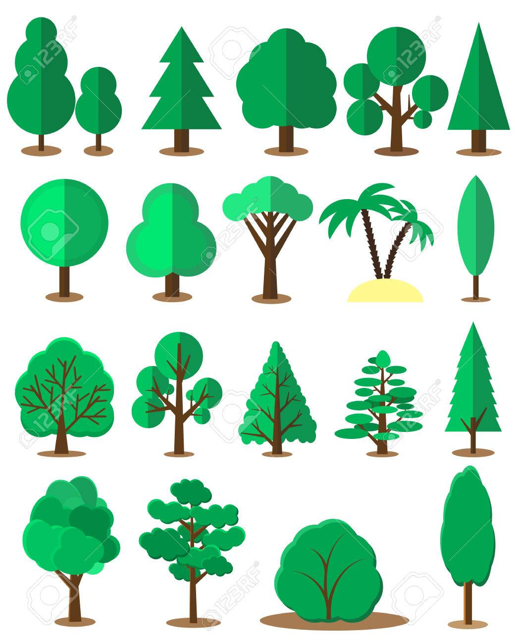 flat tree set isolated on white background vector collection