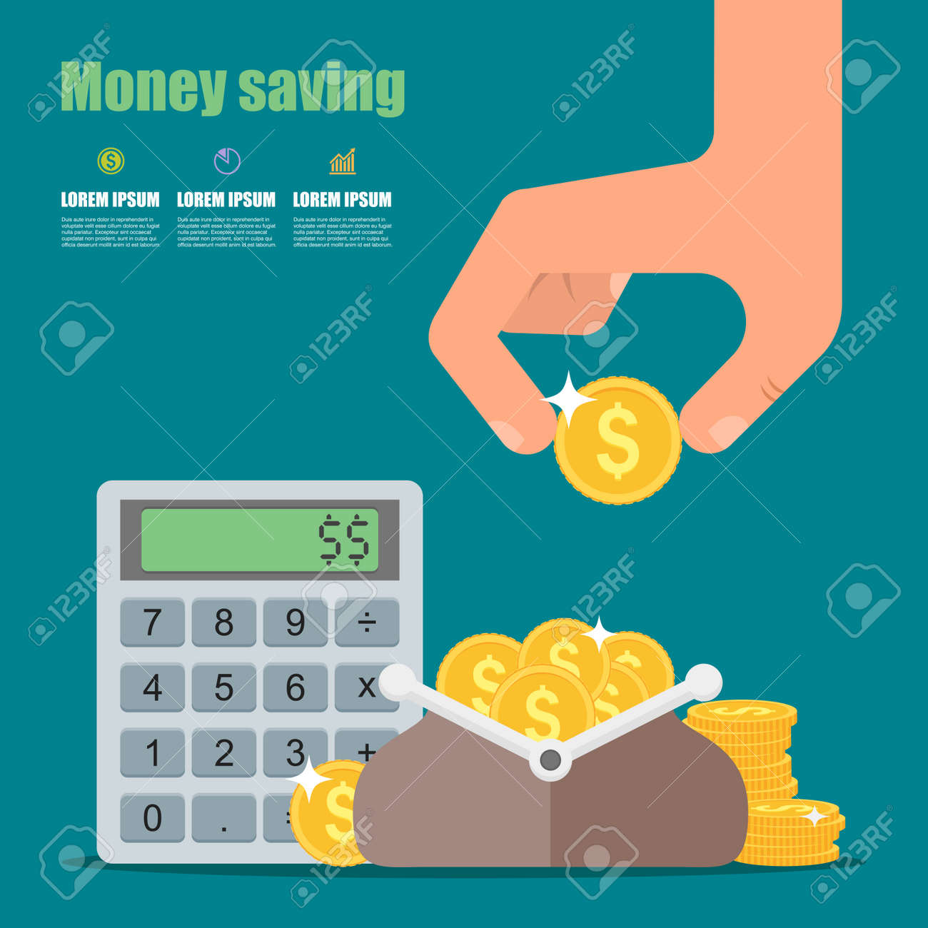Money saving concept. Vector illustration in flat style design. Wallet full of coins, calculator and hand with coin. Finance symbols and icons. - 49157558
